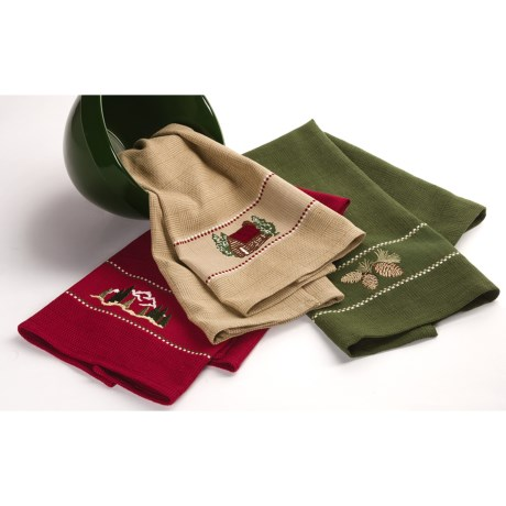 DII Embroidered Dish Towels - Set of 3