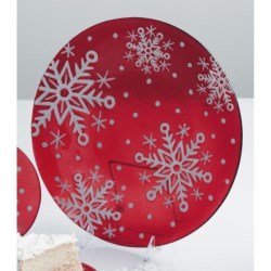 """DII Sweet Snowflakes Serving Plate - 12"""", Glass"""