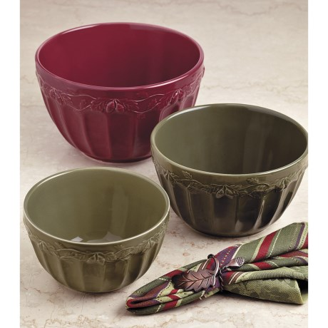 DII Autumn Acorn Mixing Bowls - Set of 3, Ceramic
