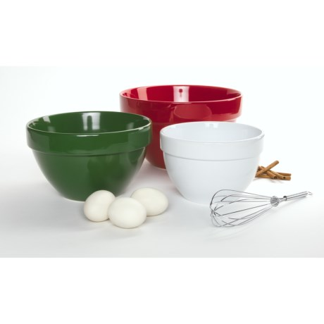 DII Classic Christmas Mixing Bowls - Set of 3, Ceramic