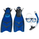 U.S. Divers Sideview Purge Mask with Total Dry Snorkel and Hydrosplit Fins Dive Set (For Men and Women)