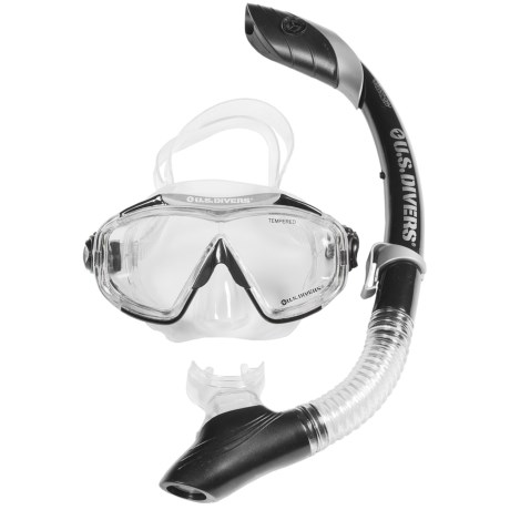 U.S. Divers Avalon DX Mask and Island Dry Snorkel Combo (For Men and Women)