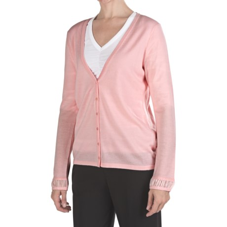 Pendleton Merino Wool Cardigan Sweater - Chiffon Trim (For Women)