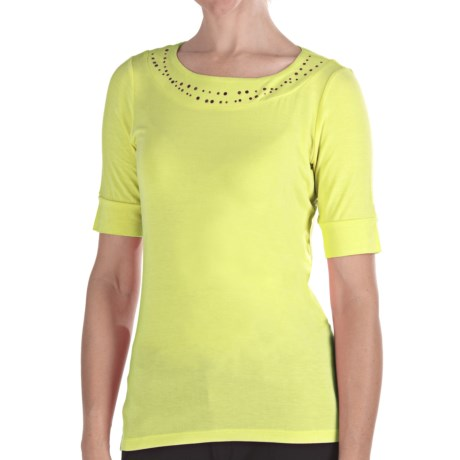 Pendleton Casey Stud Accent T-Shirt - Stretch Modal, Elbow Sleeve (For Women)