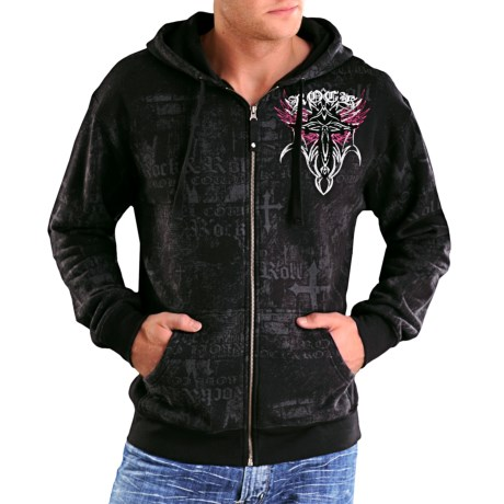 Rock & Roll Cowboy Distressed Screenprint Hoodie Sweatshirt - Zip Front (For Men)