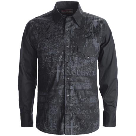 Rock & Roll Cowboy Cotton Poplin Screenprint Western Shirt - Snap Front, Long Sleeve (For Men)
