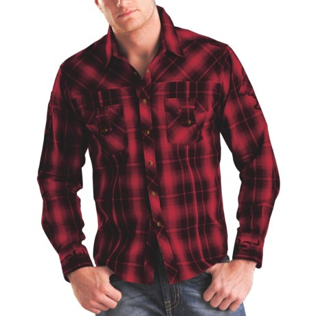 Rock & Roll Cowboy Plaid Cross Applique Western Shirt - Snap Front, Long Sleeve (For Men)