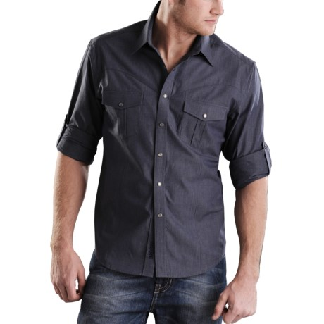 Rock & Roll Cowboy End On End Western Shirt - Roll-Up Long Sleeve, Snap Front (For Men)