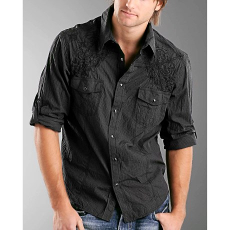 Rock & Roll Cowboy Poplin Check Crinkle Shirt - Snap Front, Long Sleeve (For Men)