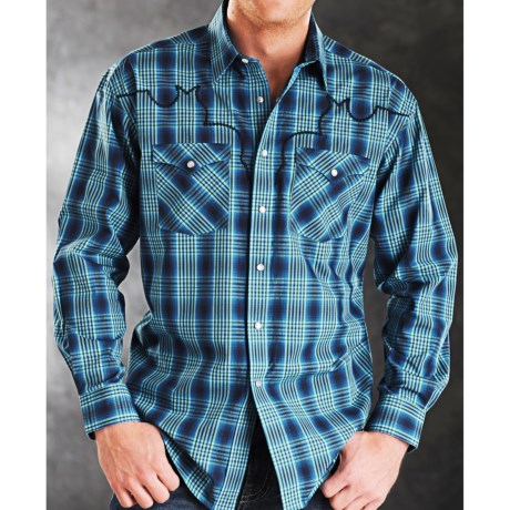 Rough Stock Ithica Ombre Check Shirt - Snap Front, Long Sleeve (For Men)