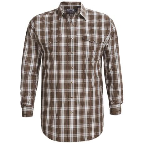 Panhandle Slim Poplin Satin Plaid Shirt - Snap Front, Long Sleeve (For Tall Men)