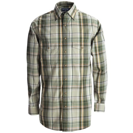 Panhandle Slim Poplin Satin Plaid Shirt - Snap Front, Long Sleeve (For Tall Men)