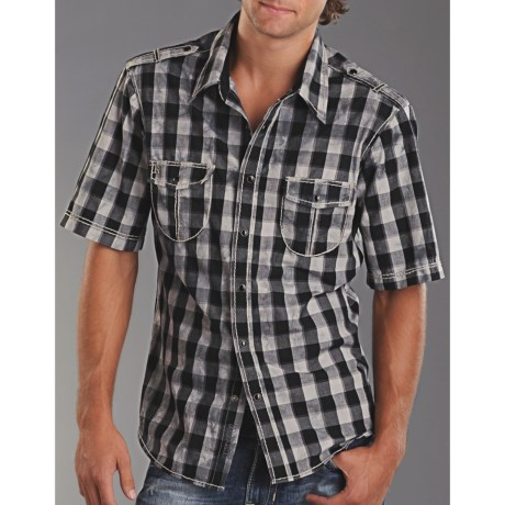 Rock & Roll Cowboy Check Western Shirt - Snap Front, Short Sleeve (For Men)