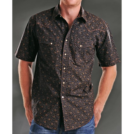 Rough Stock Antique Print Western Shirt - Snap Front, Short Sleeve (For Men)