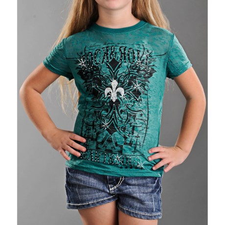 Rock & Roll Cowgirl Cross Burnout T-Shirt - Short Sleeve (For Girls)