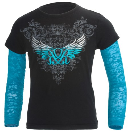 Rock & Roll Cowgirl Burnout Sleeves T-Shirt - Long Sleeve (For Girls)