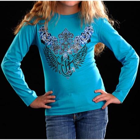 Rock & Roll Cowgirl Cross Rose T-Shirt - Long Sleeve (For Girls)