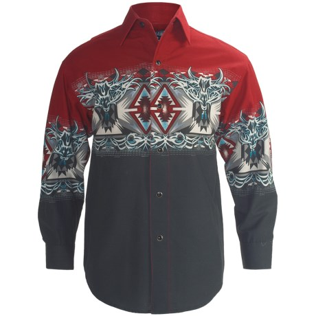 Panhandle Slim Aztec Border Print Western Shirt - Snap Front, Long Sleeve (For Boys)