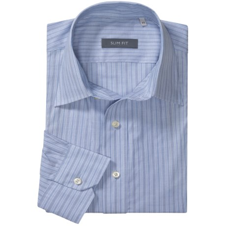 Specially made Slim Fit Stripe Sport Shirt - Long Sleeve (For Men)