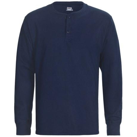 Hanes Henley T-Shirt - Cotton, Long Sleeve (For Men and Women)