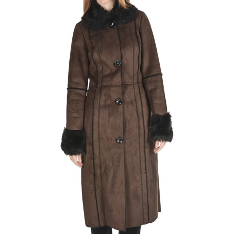 Powder River Outfitters Catres Long Coat - Distressed Suede, Faux-Fur Trim (For Women)