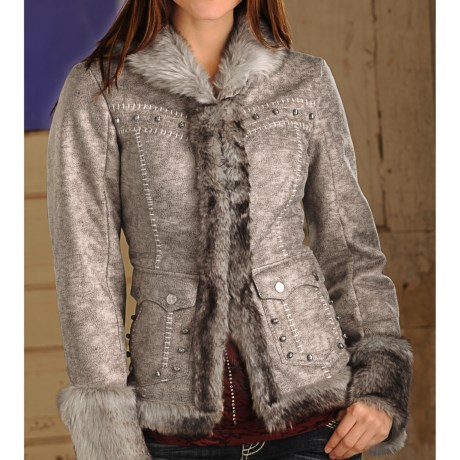 Powder River Outfitters Rochelle Short Faux-Fur Coat - Faux-Fur Trim (For Women)