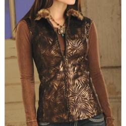 Powder River Outfitters Bayonne Suede Vest - Bronze Metallic Zebra Print, Faux-Fur Collar (For Women)