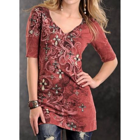 Panhandle Slim Distress Crosses Print Tunic Shirt - Jersey Cotton, Short Sleeve (For Women)