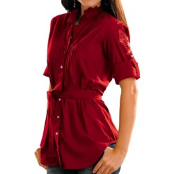 Rock & Roll Cowgirl Striped Voile Western Tunic Shirt - Rhinestone Snap Front, 3/4 Sleeve (For Women)