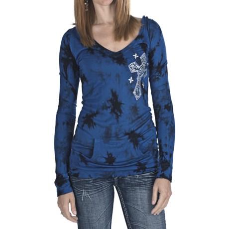 Rock & Roll Cowgirl Tribal Cross Tie-Dye Tunic Shirt - Hooded, Long Sleeve (For Women)