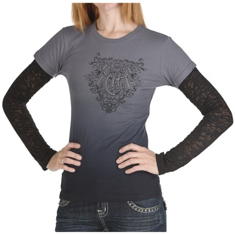 Rock & Roll Cowgirl RR Crest Burnout T-Shirt - Long Sleeve (For Women)
