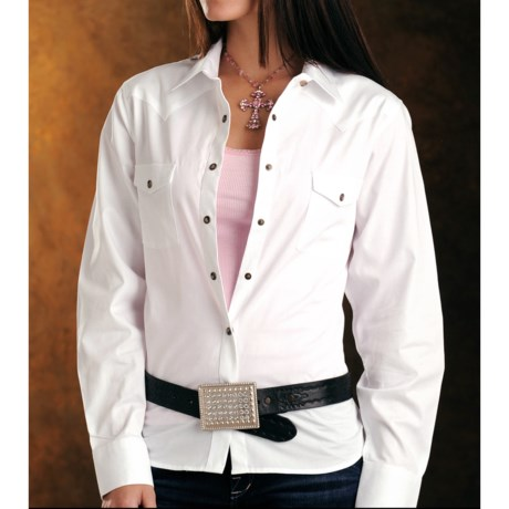 Panhandle Slim Bandera Western Shirt - 4 oz. Cotton Twill, Snap Front, Long Sleeve (For Women)