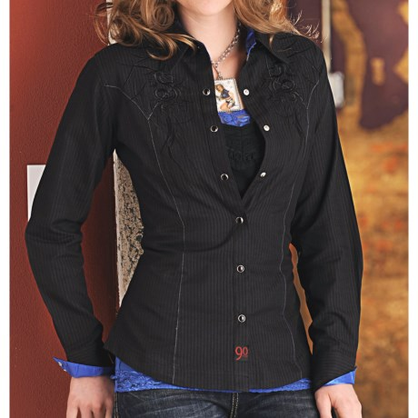 Panhandle Slim 90 Proof Satin Stripe Embroidered Western Shirt - Snap Front, Long Sleeve (For Women)