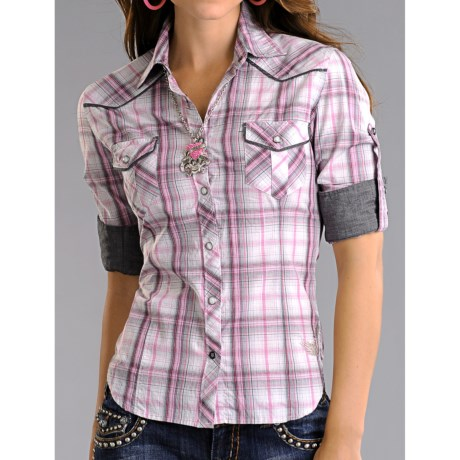 Rock & Roll Cowgirl Poplin Plaid Western Shirt - Snap Front, 3/4 Sleeve (For Women)