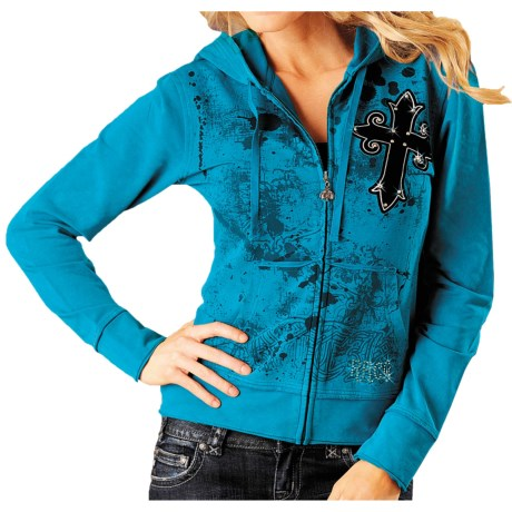 Rock & Roll Cowgirl Flock Cross Hoodie Sweatshirt - French Terry Knit (For Women)