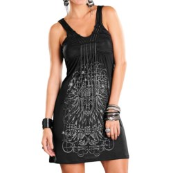 Rock & Roll Cowgirl Black Chain Knit Dress - V-Neck, Sleeveless (For Women)