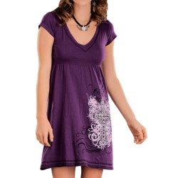 Rock & Roll Cowgirl Cross Embroidered Smocked Dress - V-Neck, Short Sleeve (For Women)