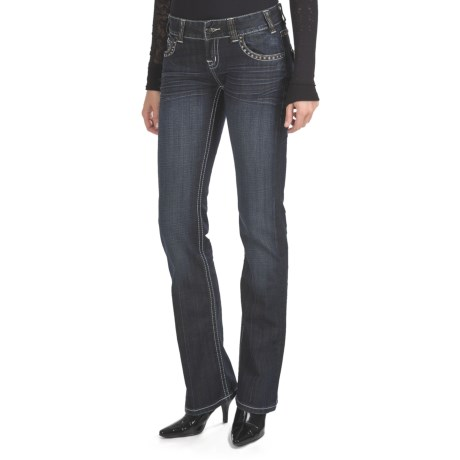 Rock & Roll Cowgirl Riveted Cross Jeans - Low Rise, Bootcut (For Women)