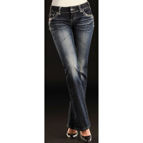 Rock & Roll Cowgirl Heavy Deco Lurex Stitch Pocket Jeans - Low Rise, Bootcut (For Women)