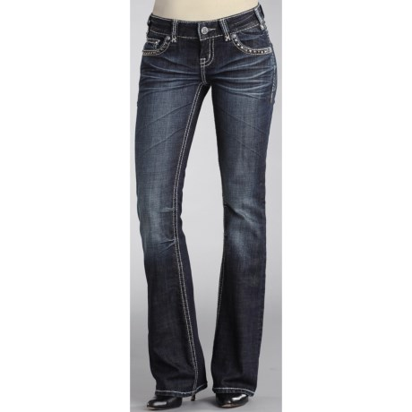 Rock & Roll Cowgirl Hematite Stone and Pyramid Stud Jeans - Low Rise, Bootcut (For Women)