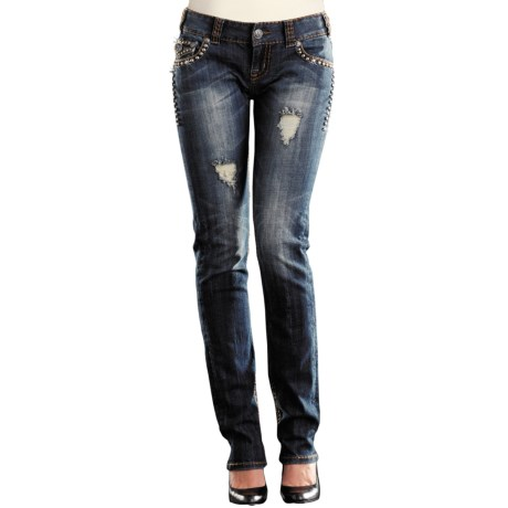 Rock & Roll Cowgirl Contrast Stitch Nailhead Trim Skinny Jeans - Low Rise (For Women)