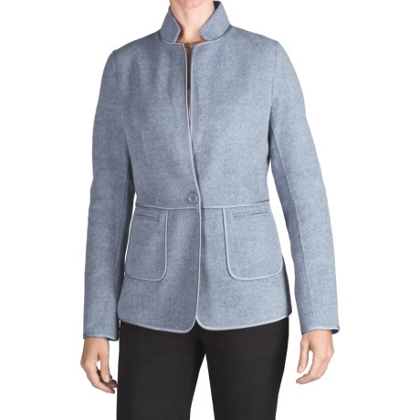 Double-Faced Wool Jacket - Satin Trim (For Women)