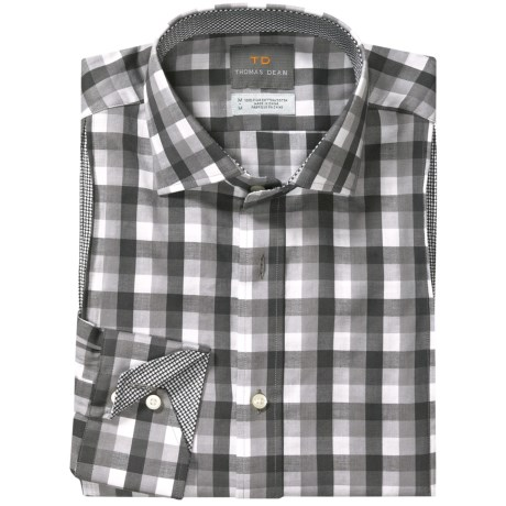 Thomas Dean Big Check Sport Shirt - Long Sleeve (For Men)
