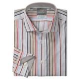 Thomas Dean Cotton Stripe Sport Shirt - Long Sleeve  (For Men and Tall Men)