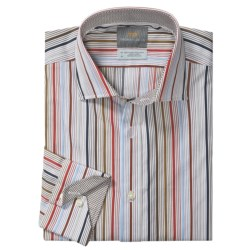 Thomas Dean Cotton Stripe Sport Shirt - Long Sleeve  (For Men and Tall Men)
