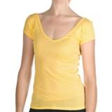 Ribbed Tissue Cotton V-Neck Shirt - Short Sleeve (For Women)