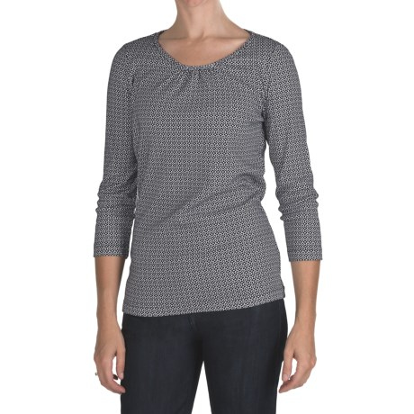 Cotton Ruched Neck Print Shirt - 3/4 Sleeve (For Women)