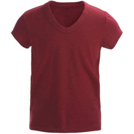 Cotton V-Neck T-Shirt - Short Sleeve (For Girls)