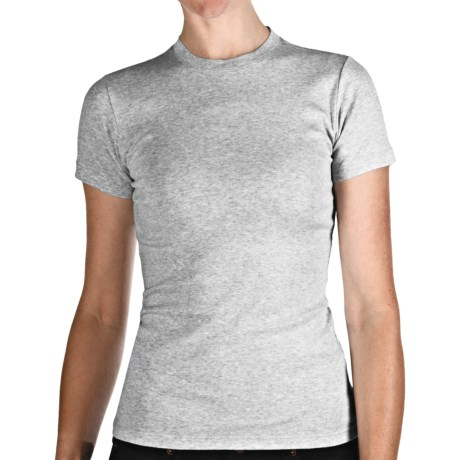 Heathered Crew Neck T-Shirt - Cotton, Short Sleeve (For Women)