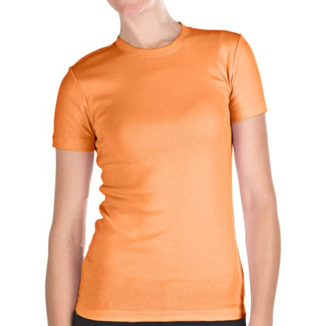 Stretch Cotton Shirt - Crew Neck, Short Sleeve (For Women)